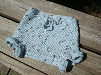 Boy's Handmade All Wool Crocheted Shortie Soaker Diaper Cover - 12 to 24 mos - Steel 817