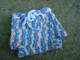 Multi Color Crocheted Wool Shortie Soaker Diaper Cover - Pixie 821