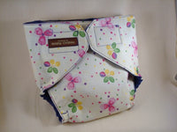 Girls Waterproof Stay Dry Lined Wrap Pocket Diaper Cover - Precious Posies on Purple 1081