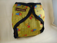 SALE Seconds - Boys Waterproof Wipe Clean Wrap Diaper Cover - Tractors 1095