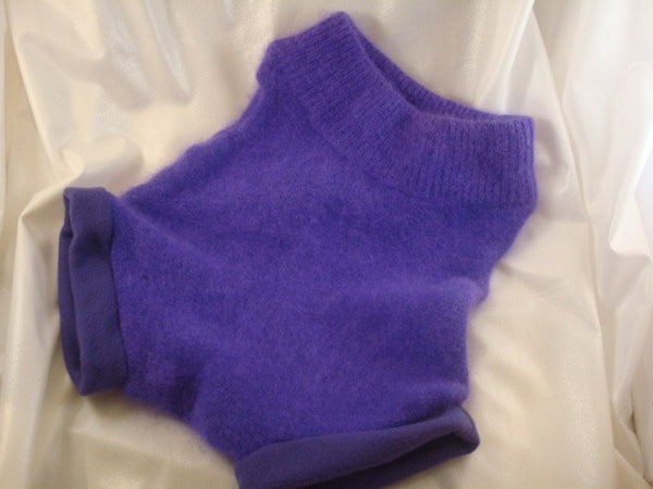 Upcycled Fuzzy Wool and Angora Panty Soaker Cloth Diaper Cover in Bright Purple - Medium - Vivian 923