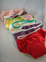 IN STOCK - Bamboo and/or Cotton Youth Incontinence Underwear with Waterproof Pad - Girls Colors Size 5T and 7 8 9