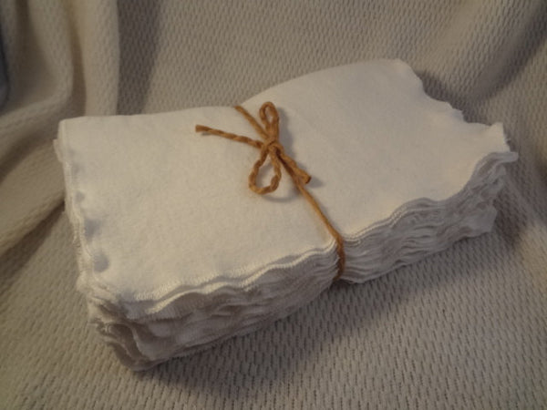 Soft Flannel Reusable Baby Wipes or Unpaper Towels - Bundle of 10 - White Color 2842