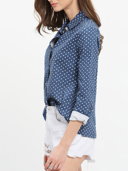 Blue Lapel Hearts Print Split Back Blouse