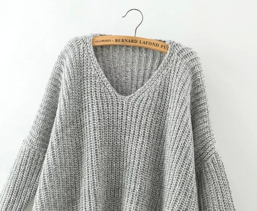 Grey V Neck Batwing Sleeve Loose Sweater