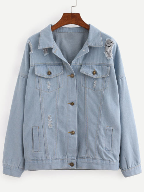 Buttoned Front Ripped Light Blue Denim Outerwear