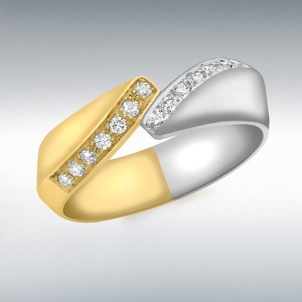 Diamond Lovers Ring 2 Tone 18Ct