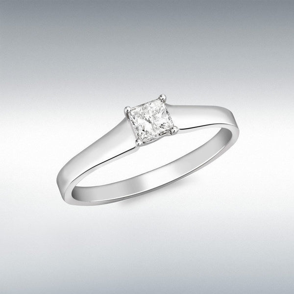 Square Diamond Ring 18Ct White Gold
