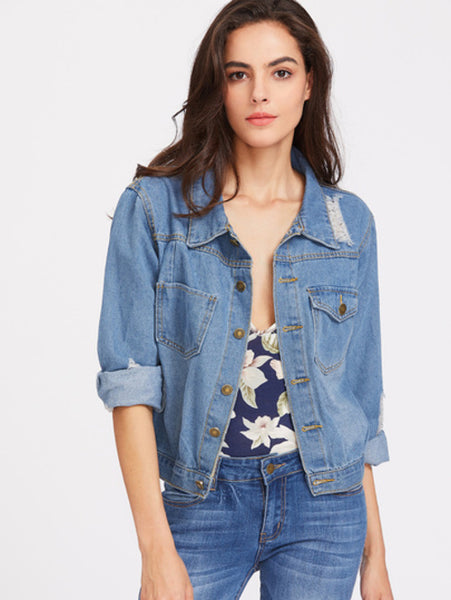 Blue Lapel Button Ripped Denim Jacket