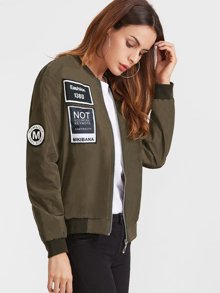 Army Green Embroidered Patch Zipper Bomber Jacket