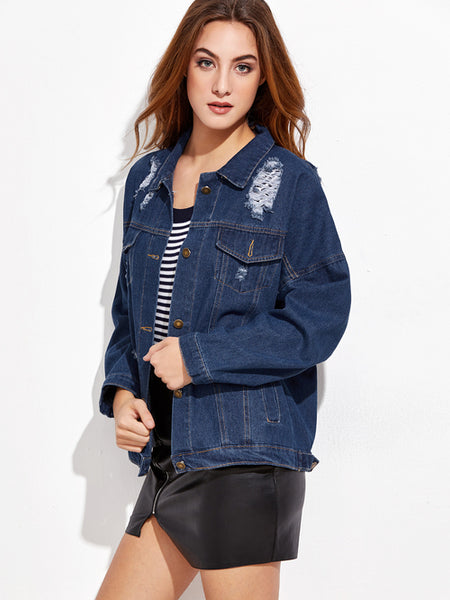 Blue Ripped Single Breasted Denim Jacket