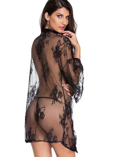 Black Lace Robe With Self Tie