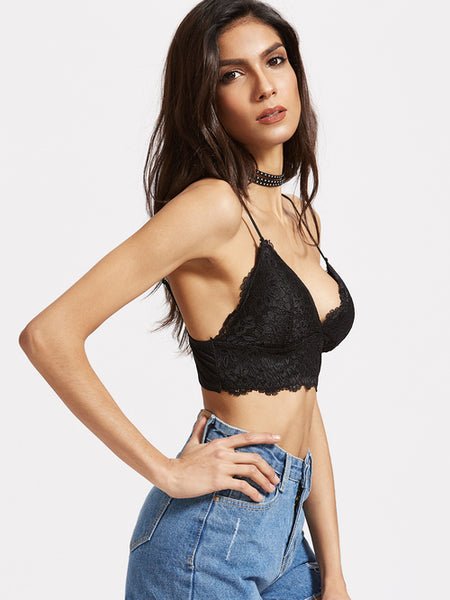 Black Lace Overlay Bralet