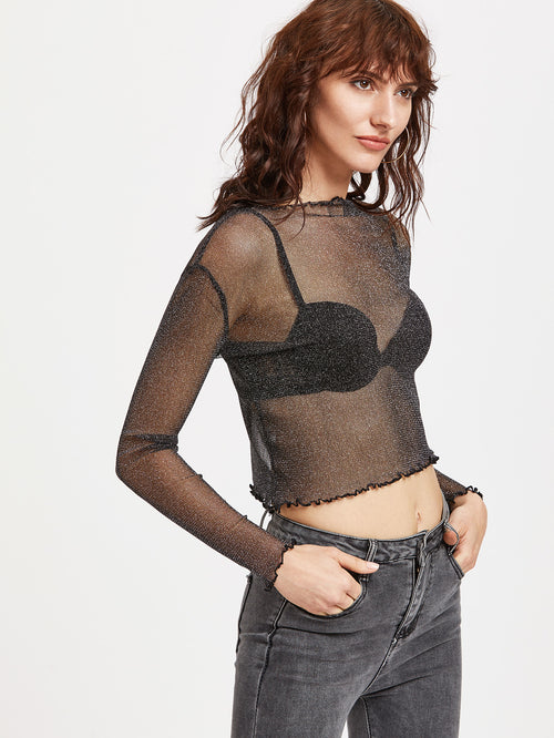 Black Sparkle Sheer Mesh Ruffle Top