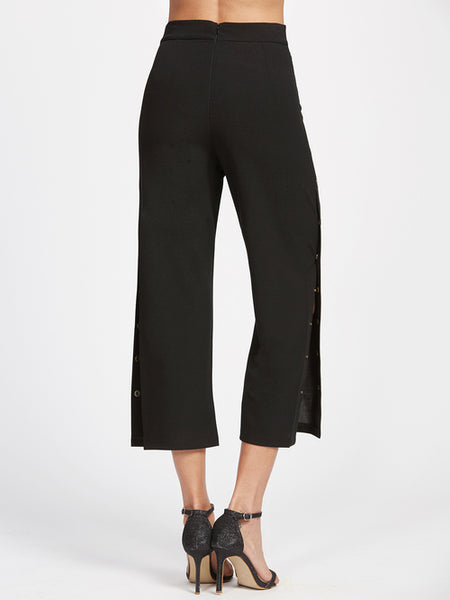 Black Metal Button Side Pants