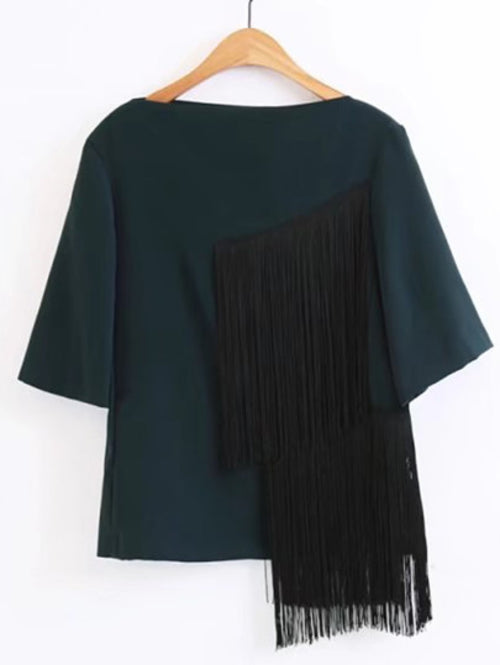 Elbow Sleeve Top With Tassel