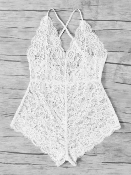 Scalloped Trim Criss Cross Lace Bodysuit