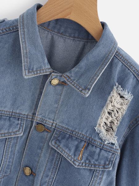 Bleach Wash Ripped Denim Jacket