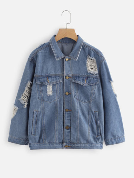Ripped Trucker Denim Jacket