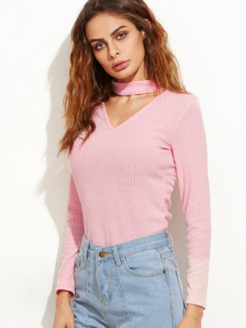 Pink Cutout Front Ribbed Sweater