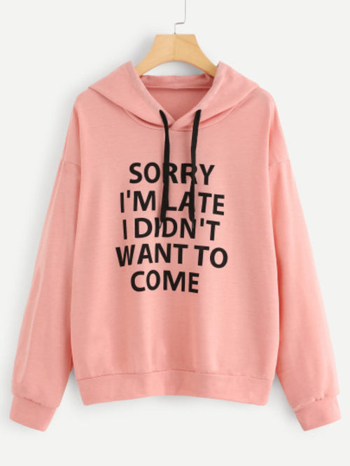 Slogan Print Drop Shoulder Hoodie