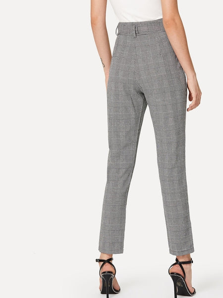 Plaid Knot Front Belted Pant