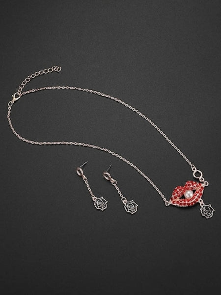 Red Lip And Rose Necklace & Drop Earrings Set