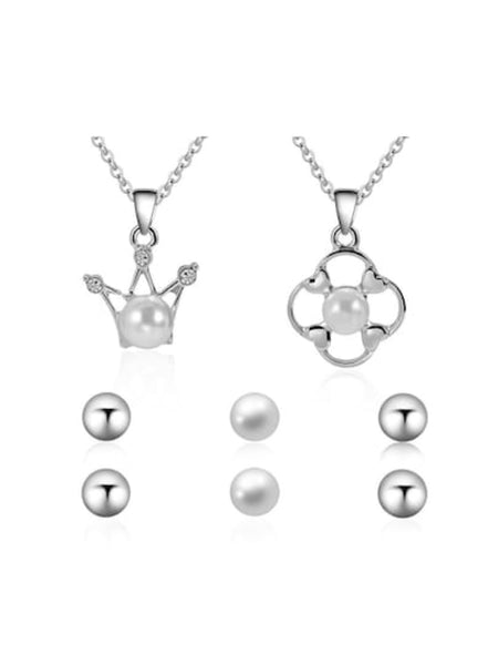 Pearl Crown Pendant Necklace 2pcs & Earrings