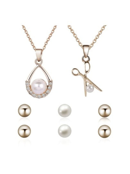 Hollow Round Pendant Necklace & Earrings Set