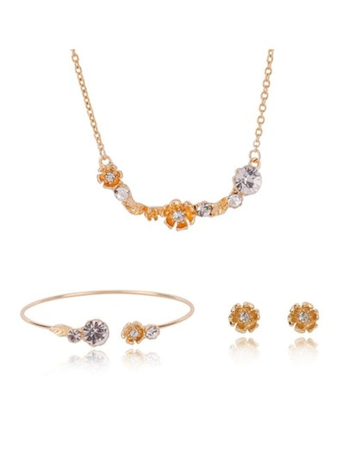 Rhinestone Flower Necklace & Bracelet & Earrings