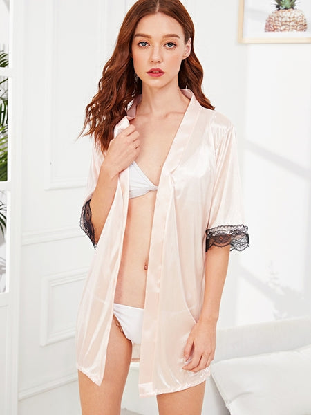 Lace Trim Self Belted Robe With Panty
