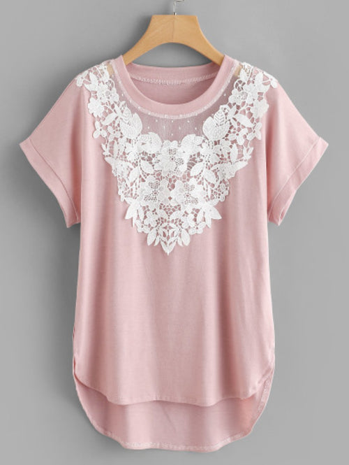 Plus Contrast Lace High Low Tee