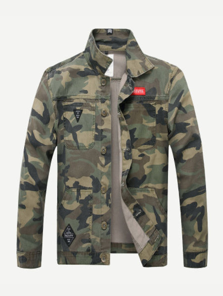 Men Camouflage Denim Jacket