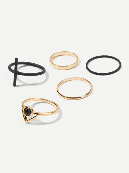 Bar Decorated Ring Set 5pcs