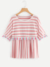 Plus Contrast Stripe Tassel Trim Tee