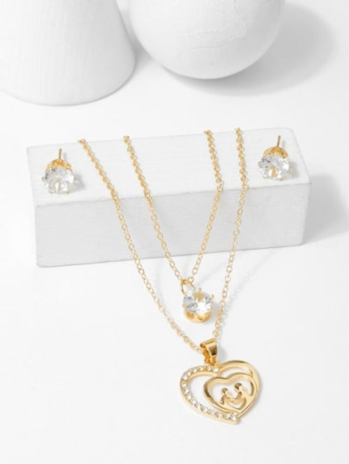 Heart Pendant Layered Necklace & Earrings Set