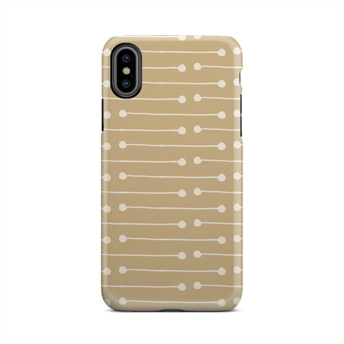 Brown And White Point To Point Lines iPhone X Case