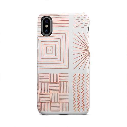 Orange Unique Abstract Lines Squares iPhone X Case