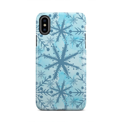 Blue And White Watercolor Snowflake iPhone X Case