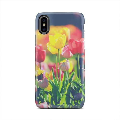 Vintage Tulip Garden Retro Faded iPhone X Case