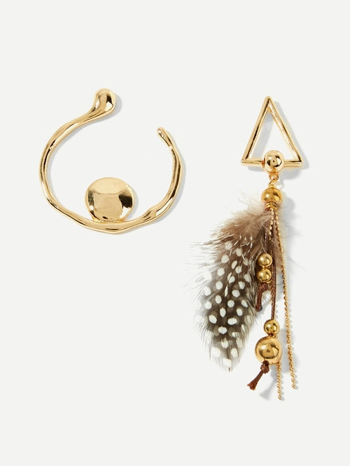 Feather & Triangle Mismatched Drop Earrings