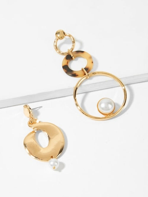 Layered Circle Mismatched Drop Earrings