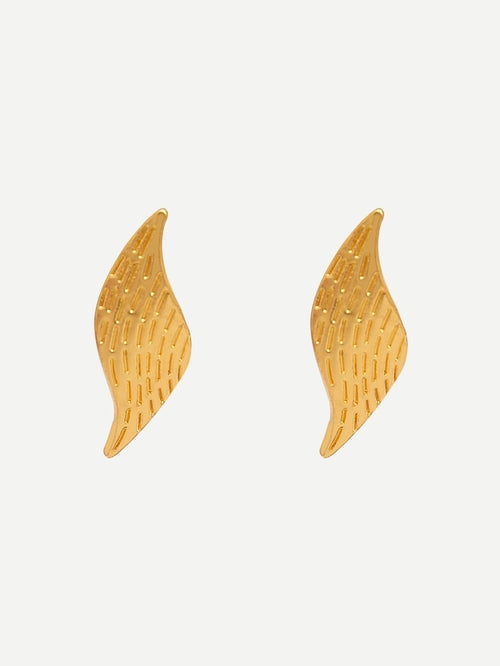 Leaf Shaped Metal Stud Earrings