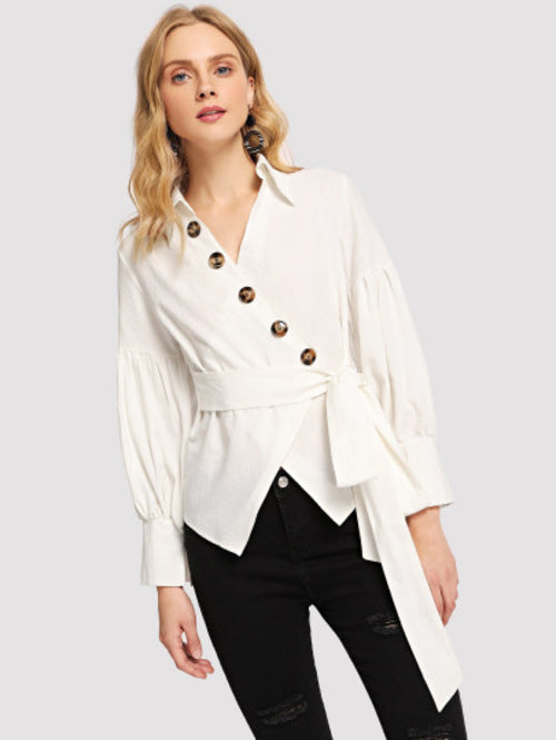 Button Decoration Collar Solid Top