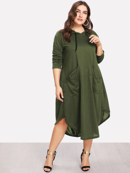 Plus Dual Pocket Hooded Dress