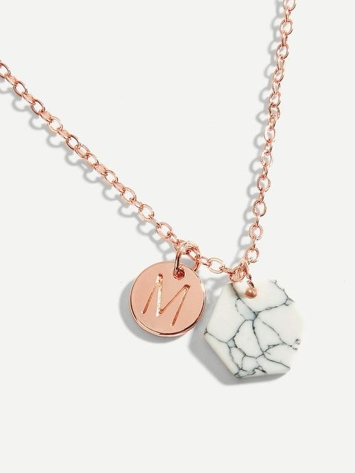 Marble Pattern & Letter Pendant Necklace
