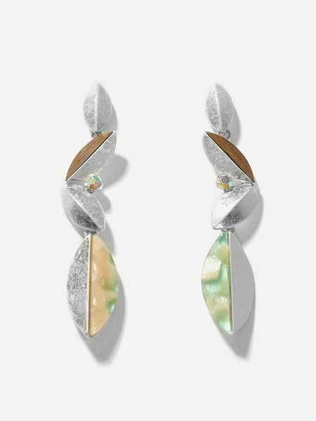 Layered Leaf Shaped Drop Earrings