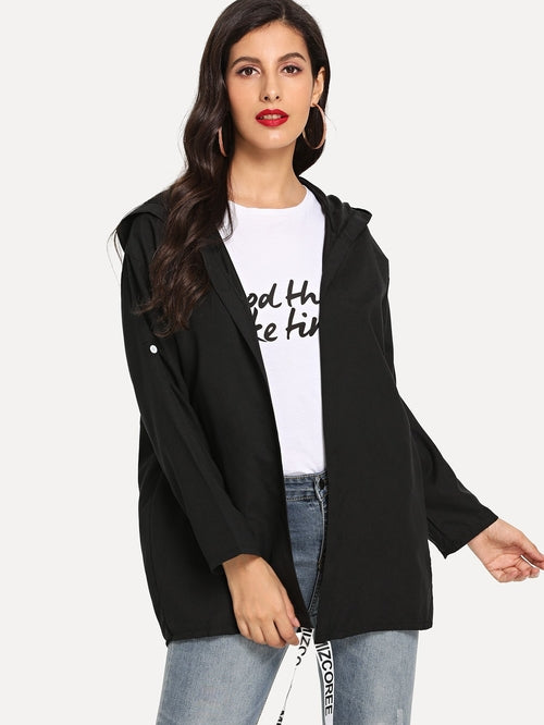 Letter Ribbon Hooded Jacket