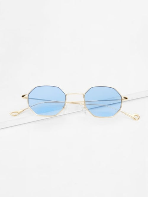 Polygon Frame Tinted Lens Sunglasses