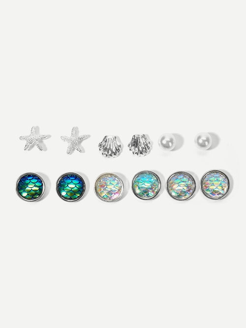 Faux Pearl Stud Earrings 12pcs